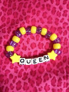 QUEEN beaded kandi bracelet by OverdoseDelusion on Etsy, $3.00