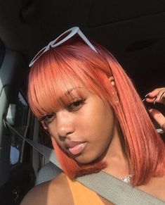 Weave Hairstyles With Bangs Sew In Short Colored Pink Hairstyle For Black Women 9 Black Girls Hairstyles, Hairstyles With Bangs, Weave Hairstyles, Straight Hairstyles, Fashion Hairstyles, Curly Hair Styles, Natural Hair Styles, Pelo Afro, Pelo Natural