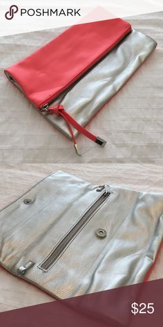 Fold over leatherette clutch Coral and silver. Never used! Bags