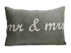 Throw Pillow Cover, Mr. & Mrs. Pillow, Felt Wool Pillow, Wedding Anniversary Engagement gift, Bridal Shower, Newlywed pillow, Housewarming
