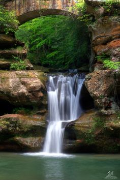 The upper falls of Old Man's Cave Falls in Hocking Hills State Park, Ohio;  photo by Graham Brannon