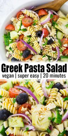 vegan Greek pasta salad is perfect for your next BBQ or potluck! It's one o This vegan Greek pasta salad is perfect for your next BBQ or potluck! -This vegan Greek pasta salad is perfect for your next BBQ or potluck! Easy Vegan Lunch, Vegan Lunch Recipes, Vegan Dinners, Vegan Lunches, Easy Recipes For Lunch, Plant Based Dinner Recipes, Vegan Snacks On The Go, Vegan Recipes For One, Summer Vegetarian Recipes