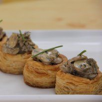 Mushroom Vol-Au-Vents: Vol-Au-Vent cases topped with creamy seasoned #mushrooms, sprinkled with a hint of chive leaves.