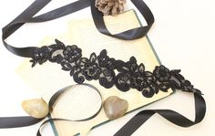Black Squins and Beaded Embroidery Lace Sash // Headband , Head Tie // Bridesmaids Sash //SH-05. $25.00, via Etsy.