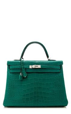 35Cm Hermes Malachite Matte Alligator Retourne Kelly by Heritage Auctions Special Collections for Preorder on Moda Operandi