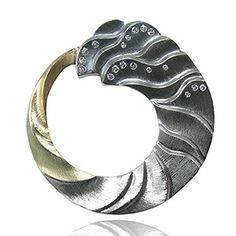 Tidal Pin - Artisan Jewelry - 18K Yellow Gold, 14K Green Gold, Argentium Silver, Oxidized Silver, Diamonds by Keiko Mita