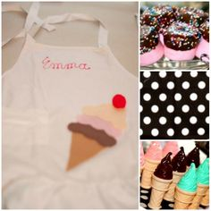 Cute marshmellow treats, ice cream bubbles, & apron for party favors...