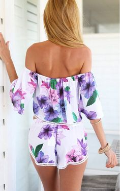 Stunning Floral Print Overalls Shoulder Free Gorgeous Look