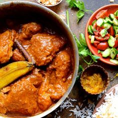 Deeply aromatic garam masala and cinnamon spiced Cape Malay chicken curry with caramelised banana and mango chutney Roasted Banana, Soup Recipes, Chicken Recipes, Dessert Recipes, Cooking Recipes, Recipies, Desserts, Chicken Masala, Postres