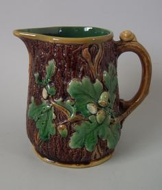 Minton Majolica acorn and snail jug/pitcher