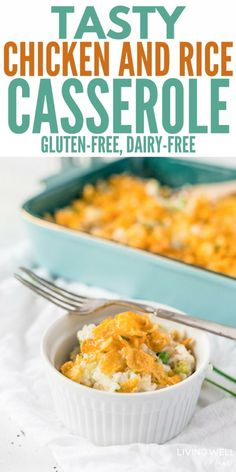 Tasty Chicken and Rice Casserole (Gluten-Free, Dairy-Free) - My whole family loves this Tasty Chicken and Rice Casserole – it's simple, filling, delicious an - Lactose Free Diet, Sem Gluten Sem Lactose, Sans Gluten, Chicken Rice Casserole, Gluten Free Chicken Casserole, Casserole Recipes, Easy Weeknight Meals, Easy Dinners, Dairy Free