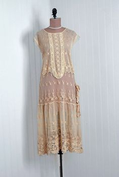 Vintage 1920's dress, sheer with Beads on etsy