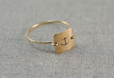 Personalized Initial Letter Monogram Anchor Nautical Christian Stamped Hammered Square Disk Charm Signet Gold or Silver Ring Jewelry. $30.00, via Etsy.