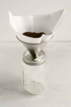 So Smart - Pour Mason is a stainless steel attachment that turns any mason jar into a pour-over coffee pot. Get clear, perfect coffee that you can drink right out of your jar.