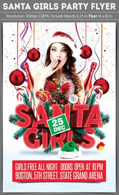 Santa Girls Party Flyer