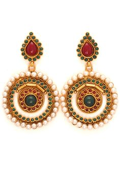 Buy Marron, Green and Golden Color Polki Studded Earring online, work: Studded jewellery, color: Gold / Green / Maroon, usage: Party, category: Jewelry, fabric: Others, price: $27.43, item code: JVM776, gender: women, brand: Utsav