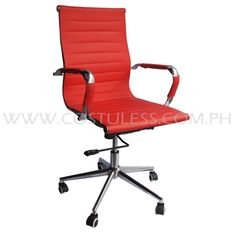 Product Code: EMC-138N RED  Sale Price:P5 799.00  Description: Ergodynamic™ Eames Replica Mid Back Office Chair, Faux Leather in seat & back, chrome armrests,  chrome frame &  base, fly mechanism with tilt back function, swivel function, pneumatic height adjustment  Product Measurement: 54L x 50W x 92-102Hcm Chair Capacity: 80kgs.  Classification: MEDIUM DUTY
