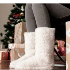 Fuzzy boot slippers for jammies; Love these for winter, with skinny jeans and leggings for holidays and hanging around the house. Toasty feet!