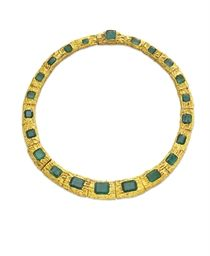 AN EMERALD AND GOLD NECKLACE, BY PAUL FLATO  Designed as a series of graduated textured gold links, each centering upon a rectangular or square-cut emerald, 16¾ ins. Signed Flato for Paul Flato.