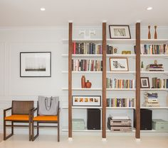 Custom walnut bookshelf designed by Elana Safronsky of EMME Design. Bookshelf Design, Bookshelves, Bookcase, Architectural Features, Custom Furniture, Portfolio Design, Custom Design, Interior Decorating, House Design