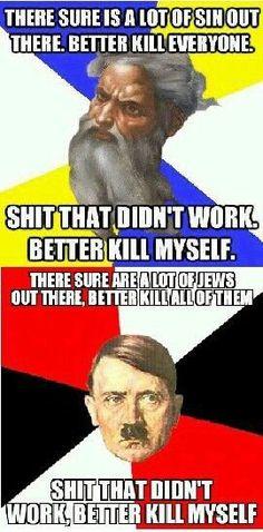 Hitler vs God. Lol.