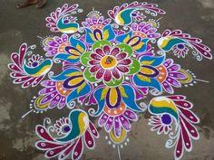 Part of pongal. Simple Rangoli Border Designs, Indian Rangoli Designs, Rangoli Designs Latest, Rangoli Designs Flower, Rangoli Patterns, Free Hand Rangoli Design, Small Rangoli Design, Rangoli Designs With Dots, Beautiful Rangoli Designs