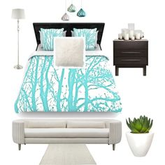 Master or guest bedroom by overdose-onstyle on Polyvore featuring polyvore, interior, interiors, interior design, home, home decor, interior decorating, Shine by S.H.O, Inspire Q, Pottery Barn, Pomax, Baxton Studio and bedroom