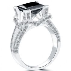 4.16 Carat Certified Princess Cut Black Diamond Engagement Ring 18k White Gold - Black Diamond Engagement Rings - Engagement