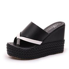 ed5c39833a0 SkyleCoel Womens Wedges Sandals Bicolourable Platform Thong Slippers 65  Black -- Click on the image