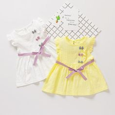 Bow Ruffles Sleeves Dress For Baby Girls Girls Frock Design, Kids Frocks Design, Baby Frocks Designs, Baby Dress Design, Baby Girl Dress Patterns, Dresses Kids Girl, Kids Outfits Girls, Baby Girl Fashion, Toddler Fashion
