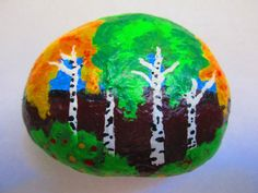 Painted rock Birch Trees