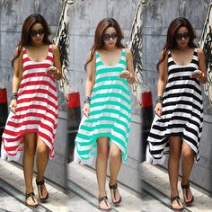 Wholesale and Retail Women Summer Dresses Girl Casual Stripe Irregular Beach Dress Sleeveless Sexy Sundress