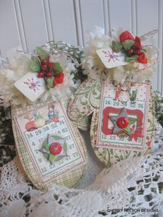 Christmas stitched MITTENS with children bingo cards believe LARGE TAGS gift decoration for christmas