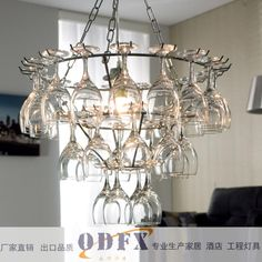 240W Pendant Light With 6 Lights In Wine Glass Feature $17599 Beauteous Glass Chandeliers For Dining Room Design Ideas