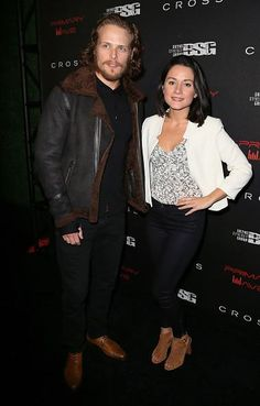 """@SamHeughan with his co-star from """"When The Starlight Ends"""", Arabella Oz, at Primary Wave 9th Annual Pre-Grammy Party"""