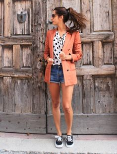 """Vans / trends / Patricia G is right on track, pairing her Vans Authentics with a """"not trying too hard to be dressy"""" blazer and cutoffs."""
