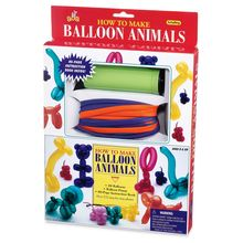 Inflate visual thinking skills with our exclusive balloon animal kit! Includes hand pump, 48 pencil balloons and instructional booklet featuring over 175 step-by-step photos. Learn how to bend, fold and twist your way to shapes that resemble mice, giraffes, dogs, rabbits, birds and many more fun animals.