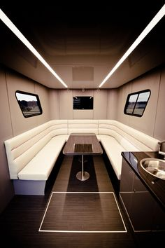 "luxurious futuria caravan - Described as a ""yacht on wheels,"" the luxurious Futuria caravan is the home away from home of your dreams. Sporting a bathroom, bedroom and jacuzzi. Luxury Yacht Interior, Luxury Rv, Rv Interior, Luxury Boats, Yacht Design, Boat Design, Luxury Caravans, Luxury Motorhomes, Yacht Boat"