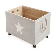 Star Caisse de rangement à roulettes en bois pour enfant