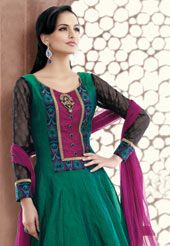 Turquoise #Green Chanderi Art #Silk Readymade #Churidar Kameez