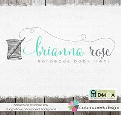 logo - Logo Design - Hand Drawn Sewing Sew Spool of Thread Needle Swirls heart Logo premade logo  Watermark Design Name Text Logo designs