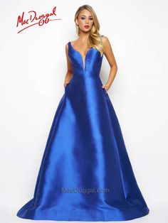 80588Y | Mac Duggal If you are looking for a classic, yet stunning, ball gown than look no further than Mac Duggal style 80588 in a flirty Magenta or classic Royal blue. The full skirt and A-line cut creates a beautiful silhouette detailed with a plunging neckline. Keep your lip-gloss and cell phone nearby with pockets effortlessly located at the hip.