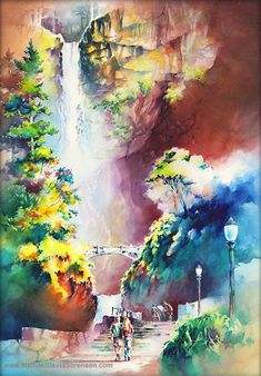Multnomah Falls Watercolor Painting Print. от MichaelDavidSorensen
