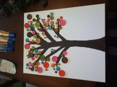 Button tree...I'll paint the tree then let my daughter glue on the buttons.