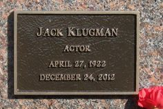 """Jack Klugman (1922 - 2012) - Actor. Best remembered for his TV roles as Oscar Madison in """"The Odd Couple"""" (1970 to 1975) and as Dr. Quincy in """"Quincy, M.E."""" (1976 to 1983) Westwood Memorial Park Also known as: Pierce Brothers Westwood Village Memorial Park, Sunset Cemetery .  1218 Glendon Ave Los Angeles Los Angeles County California  USA"""