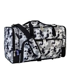 A large zippered compartment and front and side pockets provide loads of room for a weekend's worth of clothing and accessories. Sized to fit in an overhead bin, this water-resistant duffel is a great companion for little jet-setters whether they're traveling by plane, train or automobile.