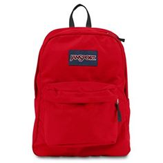 Jansport Superbreak School Backpack Original Select Color: High Risk Red. Ultra-functional school backpack/daypack with 600-denier construction. Single main compartment and front pocket with organizer for smaller items. Stores 2 to 3 textbooks, binder, spiral notebooks, calculator, cell phone, and more. Comfortable straight-cut, padded shoulder straps and 2/3-padded back panel. 1,551.2 cubic inches of storage; measures 13 x 16.7 x 8.5 inches (W x H x D).