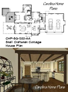 Small, 2 bedroom, 2 bath open floor plan from Carolina Home Plans 3d House Plans, Cottage House Plans, Craftsman Cottage, Open Floor, Floor Plans, Bath, Flooring, How To Plan, Contemporary