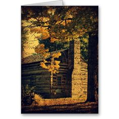 Log Cabin in Autumn Greeting Cards