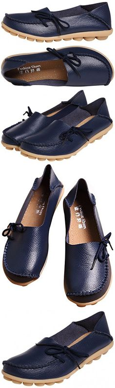 Serene Womens Leather Cowhide Casual Lace Up Flat Driving Shoes Boat Slip-On Loafers (8B(M)US, Dark Blue)